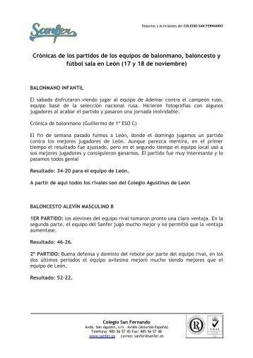 Crónicas de los partidos - Colegio San Fernando
