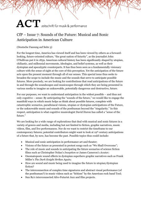 CfP – Issue 7: Sounds of the Future: Musical and Sonic ... - Act