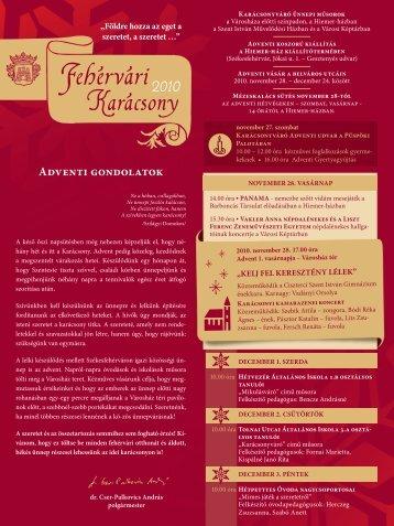 Székesfehérvár adventi programjait innen is LETÖLTHETI! (.pdf)