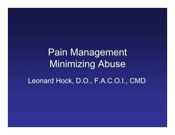 Pain Management Minimizing Abuse