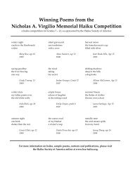 Winning Poems from the Nicholas A. Virgilio Memorial Haiku ...
