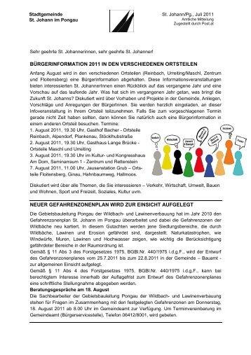 Postwurf Juli 2011 (201 KB) - Stadtgemeinde St. Johann im Pongau
