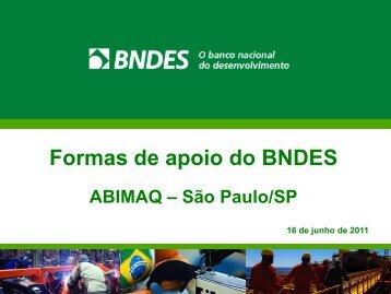 Formas de apoio do BNDES - Abimaq