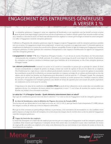 Engagement des entreprises genereuses a ... - Imagine Canada