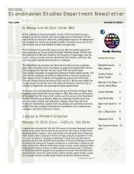Newsletter Fall 2009 - Department of Scandinavian Studies ...