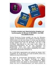 Toshiba erweitert sein Speicherkarten-Angebot um hochkompakte ...