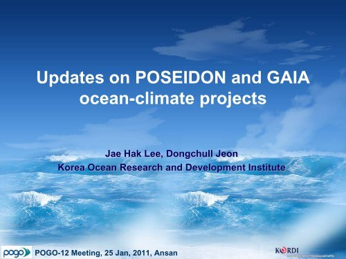 Updates on POSEIDON and GAIA ocean-climate projects - POGO