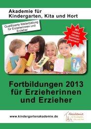 Fortbildungen 2013 für Erzieherinnen und Erzieher - Akademie für ...