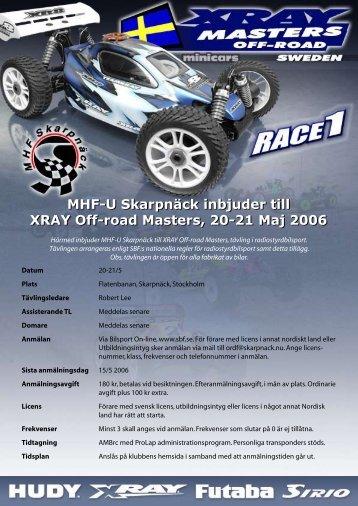 MHF-U Skarpnäck inbjuder till XRAY Off-road Masters, 20-21 Maj ...