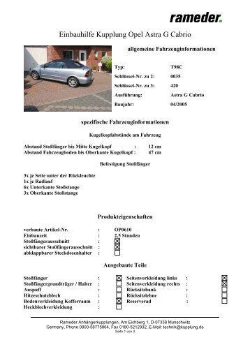 Einbauhilfe Kupplung Opel Astra G Cabrio