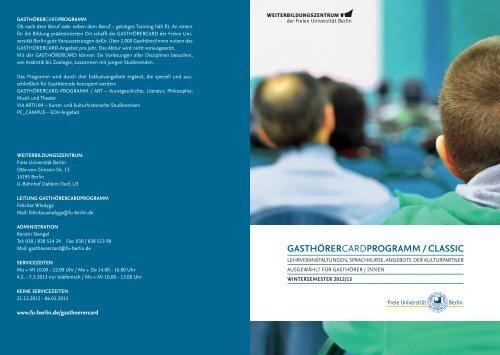 GASTHÖRERCARDPROGRAMM - Freie Universität Berlin