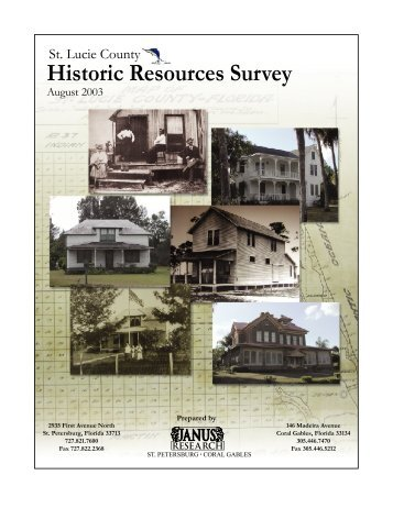 Historic Resources Survey - 2003 Final Report - St. Lucie County