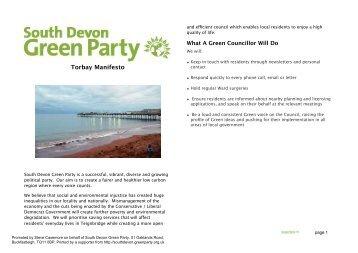 Torbay manifesto - Green Party