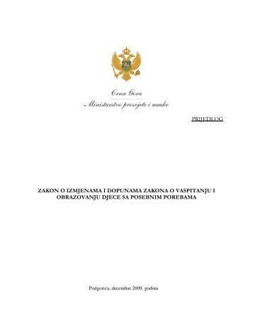prijedlog zakon o izmjenama i dopunama zakona o vaspitanju i ...