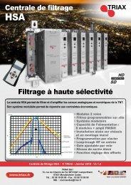 Centrale de filtrage Filtrage à haute sélectivité - Triax