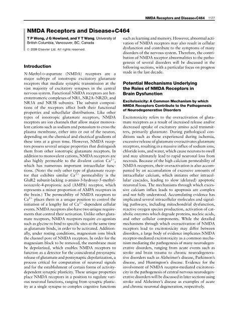 NMDA Receptors and Disease+C464