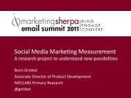 Social Media Marketing Measurement - MarketingSherpa