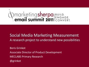 Social Media Marketing Measurement - MarketingSherpa