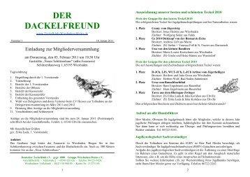 Der Dackelfreund - Nr. 1/2011 - Teckelklub Wiesbaden/ Mainz
