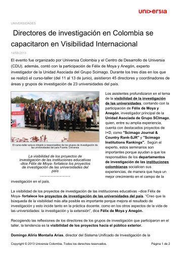 Directores de investigación en Colombia se capacitaron ... - Noticias