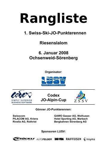 1. Swiss-Ski-JO-Punkterennen Riesenslalom 6. Januar 2008 ... - LUSV