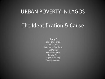 URBAN POVERTY IN LAGOS The Identification & Cause