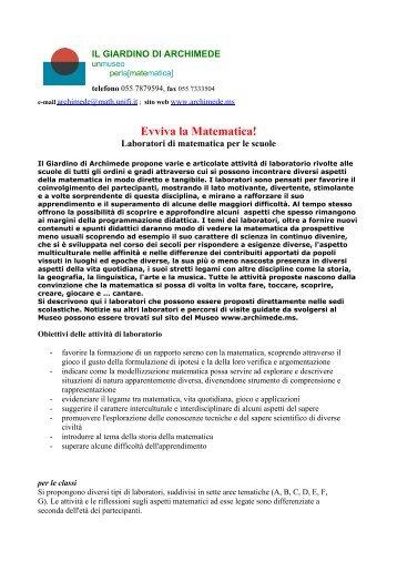 """Evviva la Matematica! - Dipartimento di Matematica """"U. Dini"""""""