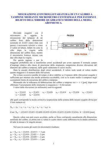 Taratura calibro a tampone - ITIS G. Galilei