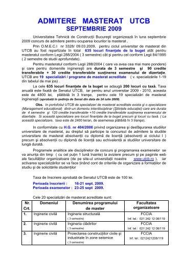 UTCB admitere masterat V4 finala incl DPPD dupa senat