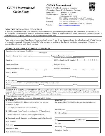 CIGNA Medical Claim Form - Department of Human Resources ...