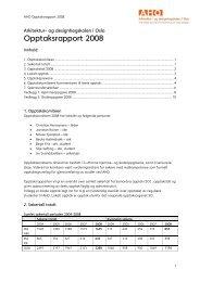 Opptaksrapport 2008 - Arkitektur- og designhøgskolen i Oslo - AHO