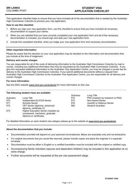 STUDENT VISA APPLICATION CHECKLIST - VFS Global