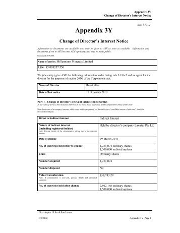 Appendix 3Y - Millennium Minerals Limited