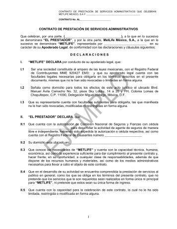 contrato mercantil de agente de seguros que celebran, por ... - MetLife