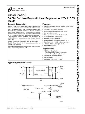 LP38501/3-ADJ 3A FlexCap Low Dropout Linear ... - Standard ICs
