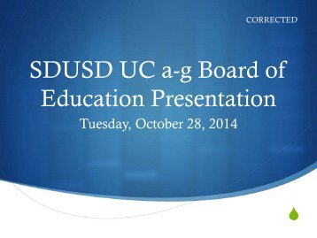 CORRECTED Broad and Challenging Curriculum - 'a-g' Presentation, 10-28-14