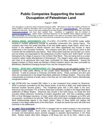 Public Companies Supporting the Israeli Occupation of Palestinian ...