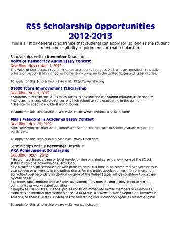 RSS Scholarship Opportunities 2012 2013