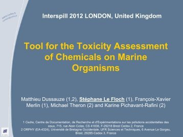 Tool for the Impact Assessment of Chemicals on Marine ... - Interspill