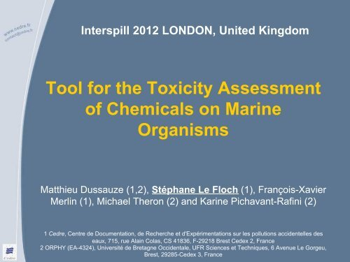 Tool for the Impact Assessment of Chemicals on Marine     - Interspill