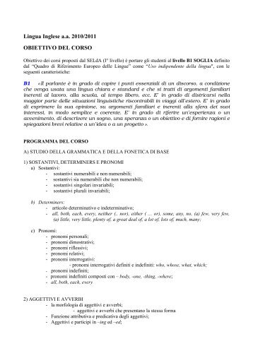 Programma del corso di lingua inglese 2010/2011 - Servizio ...