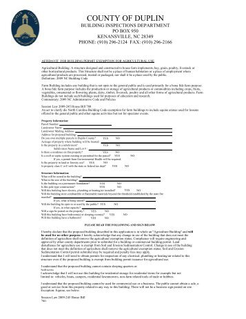 Agricultural Use Affidavit for Building Permit ... - Duplin County