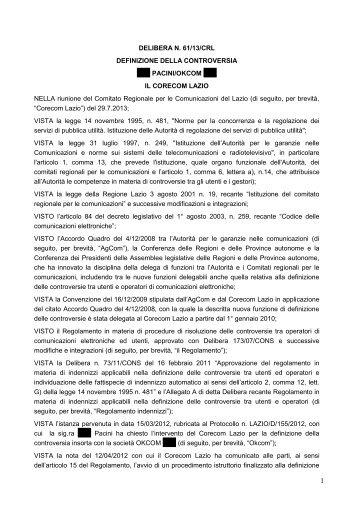 Delibera 61/13/CRL - Corecom Lazio