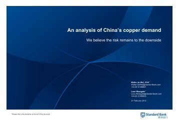 An analysis of China's copper demand