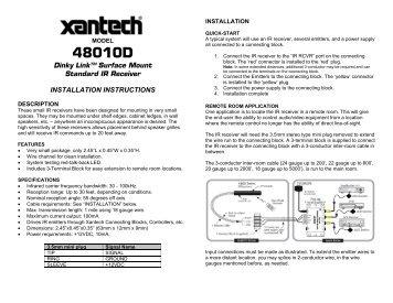 IR Receiver - Xantech.com