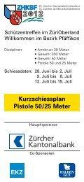 Kurzschiessplan Pistole 50/25 Meter - ZHKSF-2012
