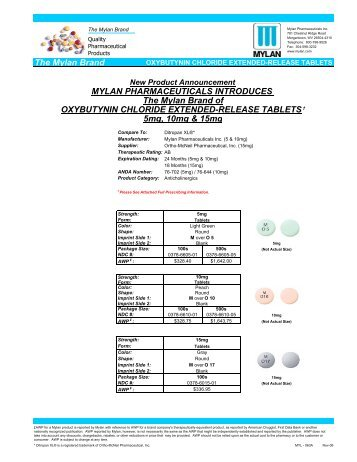 Oxybutynin Chloride Extended Release Tablets - Pharmacist eLink