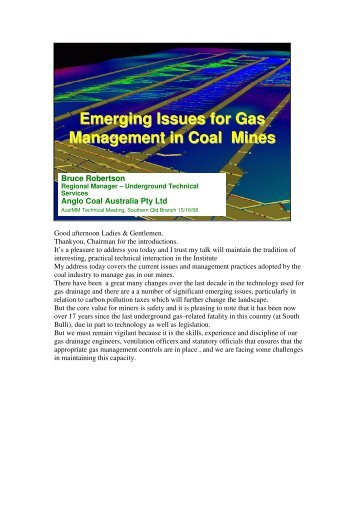 Emerging Issues for Gas Management in Coal Mines - The AusIMM
