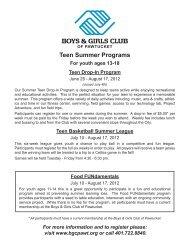 Teen Summer Programs - Boys & Girls Club of Pawtucket
