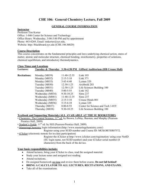Chemistry 106 – Fall 2004 - Syracuse University Department
